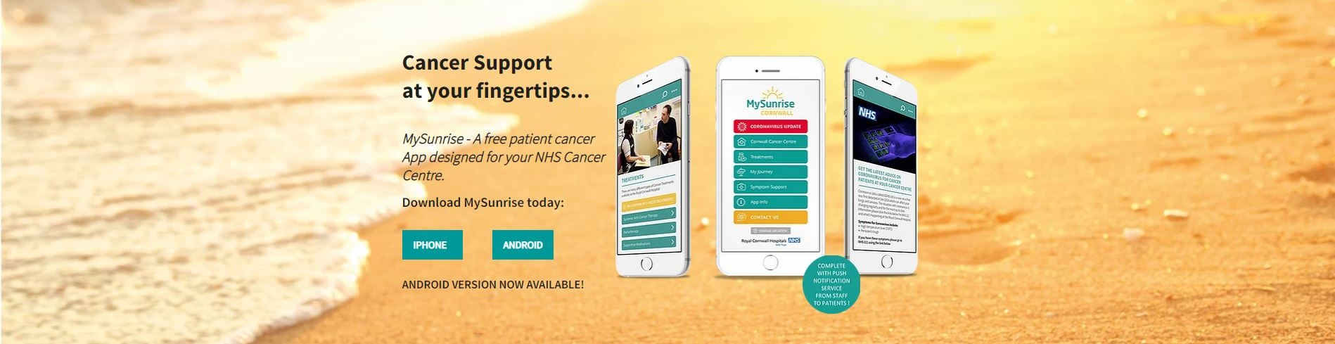 My Sunrise App:  A free patient cancer App designed for your NHS Cancer Centre, select the image to learn more.